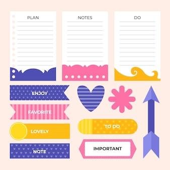 Packung mit niedlichen planer-sammelalbum-elementen
