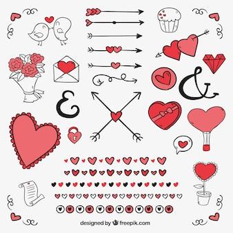 Packung mit ornamenten und zeichnungen für den valentinstag