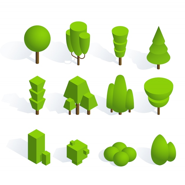 Packung mit pflanzen und bäumen in isometrischer ausführung