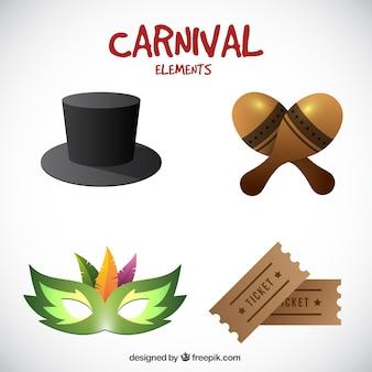 Packung mit realistische karneval objekte