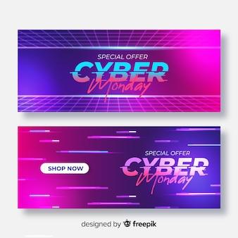 Packung mit realistischen cyber montag banner