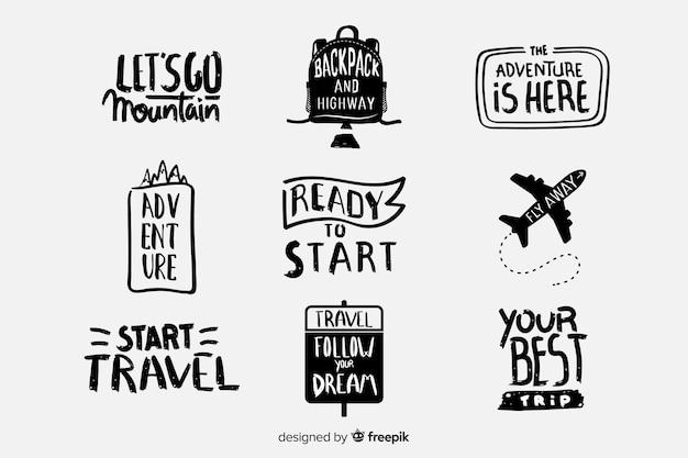 Packung mit reiseschildern