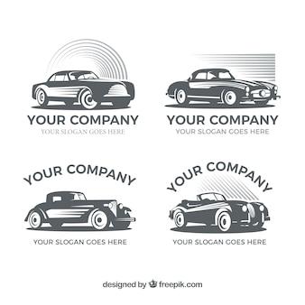 Packung mit retro-logos mit dekorativen autos