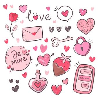 Packung mit schönen elementen zum valentinstag