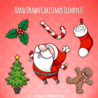 Packung mit schönen hand gezeichnet weihnachten elemente