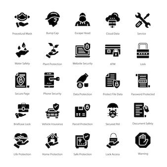 Packung mit schutz-glyphen-vektor-icons