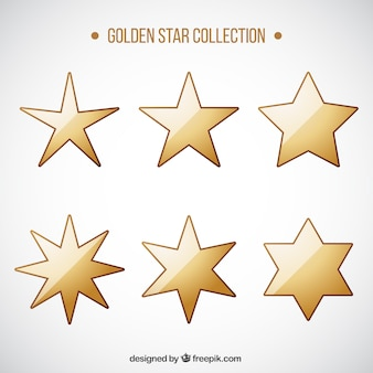 Packung mit sechs goldenen sternen