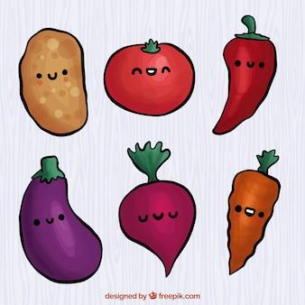 Packung mit sechs lächelnd gemüse