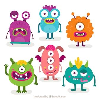 Packung mit sechs lustigen monstern