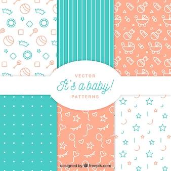 Packung mit sechs modernen baby-mustern