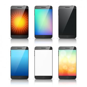 Packung mit sechs telefone mit verschiedenen bildschirmen