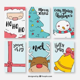 Packung mit sechs weihnachtskarten mit zeichnungen