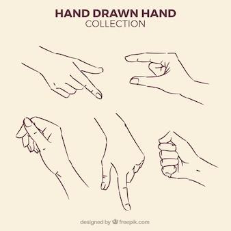 Packung mit skizzen von händen