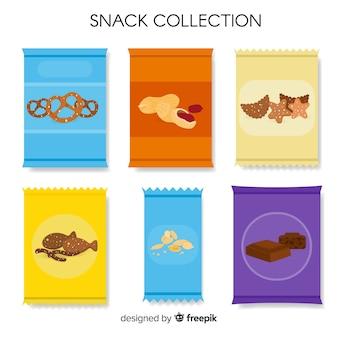 Packung mit snacks in flachen stil