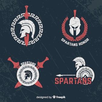 Packung mit spartanischen abzeichen