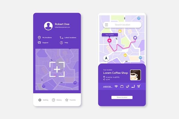 Packung mit standort-app-bildschirmen