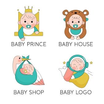 Packung mit süßen baby-logos