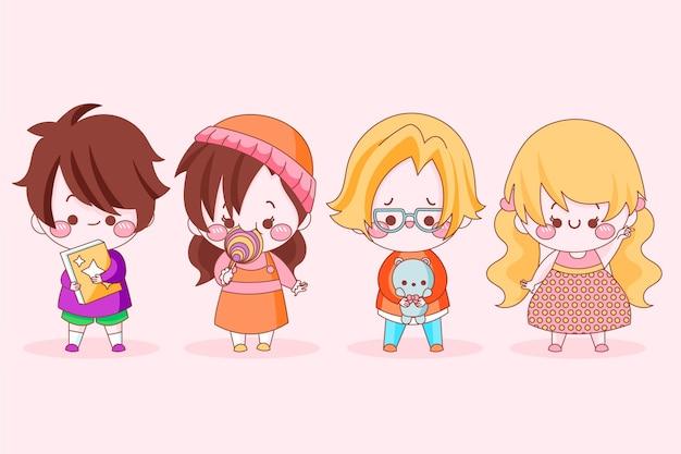 Packung mit süßen japanischen kindern