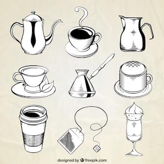 Packung mit tassen und andere handgezeichneten kaffee artikel