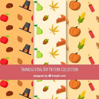 Packung mit thanksgiving-muster mit elementen