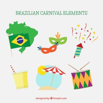 Packung mit traditionellen gegenständen brasilien karneval