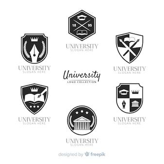 Packung mit universitätslogos in flachen stil