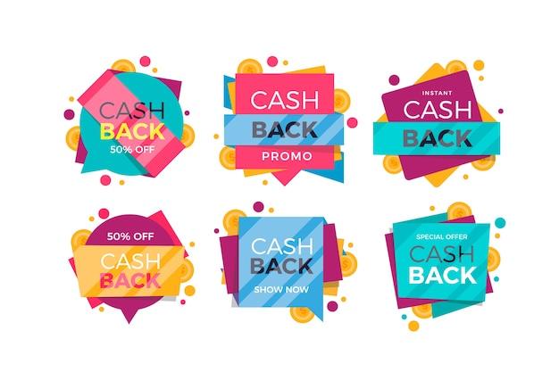 Packung mit verschiedenen cashback-etiketten