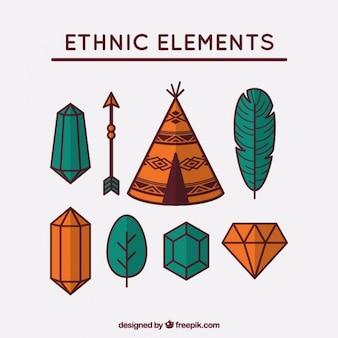 Packung mit verschiedenen ethnischen hand gezeichneten elemente