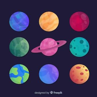Packung mit verschiedenen planeten-aufklebern