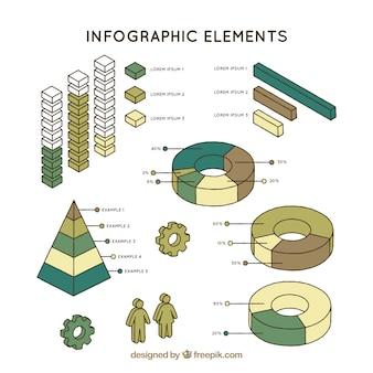 Packung mit verschiedenen typen von graphen für infografiken