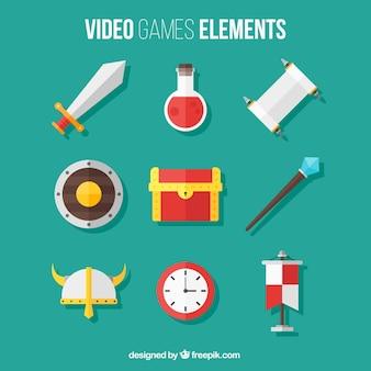 Packung mit videospiel-elemente in flaches design