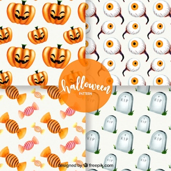Packung mit vier aquarell-halloween-mustern