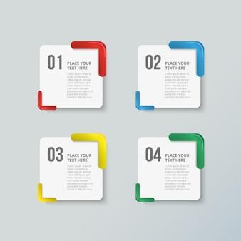 Packung mit vier bunten optionen für infografiken