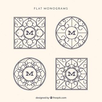 Packung mit vier eleganten monogrammen