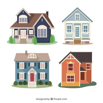 Packung mit vier flachen häusern mit verschiedenen designs
