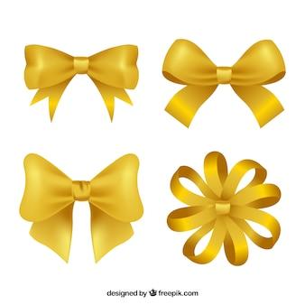 Packung mit vier goldenen bögen in realistischen stil