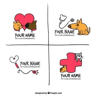 Packung mit vier handgezeichneten Logos mit Tieren und Zubehör