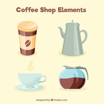 Packung mit vier kaffee elemente