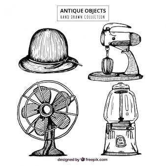 Packung mit vier klassischen elemente skizzen