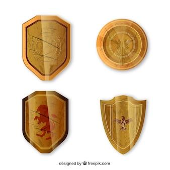 Packung mit vier mittelalterlichen goldenen schilde
