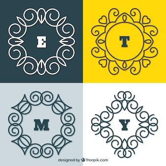 Packung mit vier monogrammen im vintage-stil