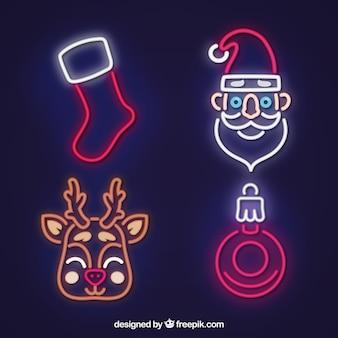 Packung mit vier neon weihnachten elemente