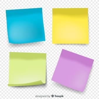 Packung mit vier noten im realistischen stil