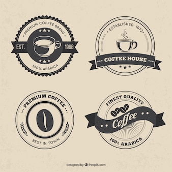 Packung mit vier vintage-kaffee aufkleber