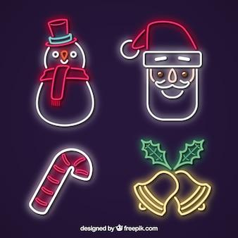 Packung mit vier weihnachtsneon-elementen