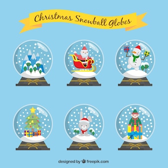 Packung mit weihnachten schneekugeln