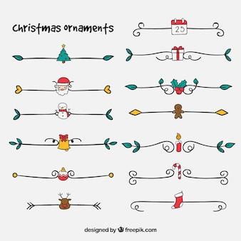 Packung mit weihnachtsdekorationselementen
