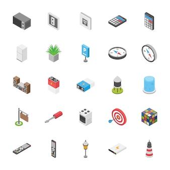 Packung objekte icons sammlung
