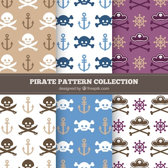 Packung piratenmuster mit schädeln und knochen