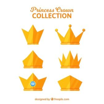 Packung prinzessin kronen in flachem design